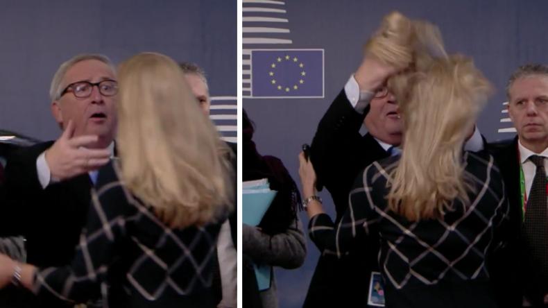 Juncker hat wieder gute Laune: Ein Küsschen hier, ein Küsschen da und kräftig die Haare wuscheln