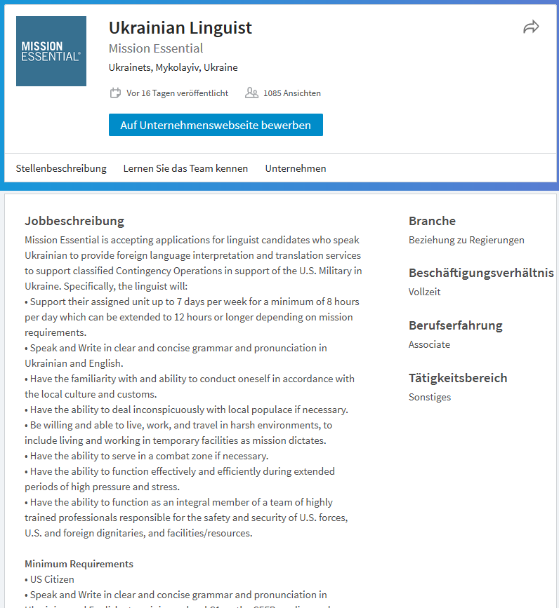 """US-Dienstleister sucht """"Linguisten"""" für Geheimoperationen von US-Spezialeinheiten am Schwarzen Meer"""