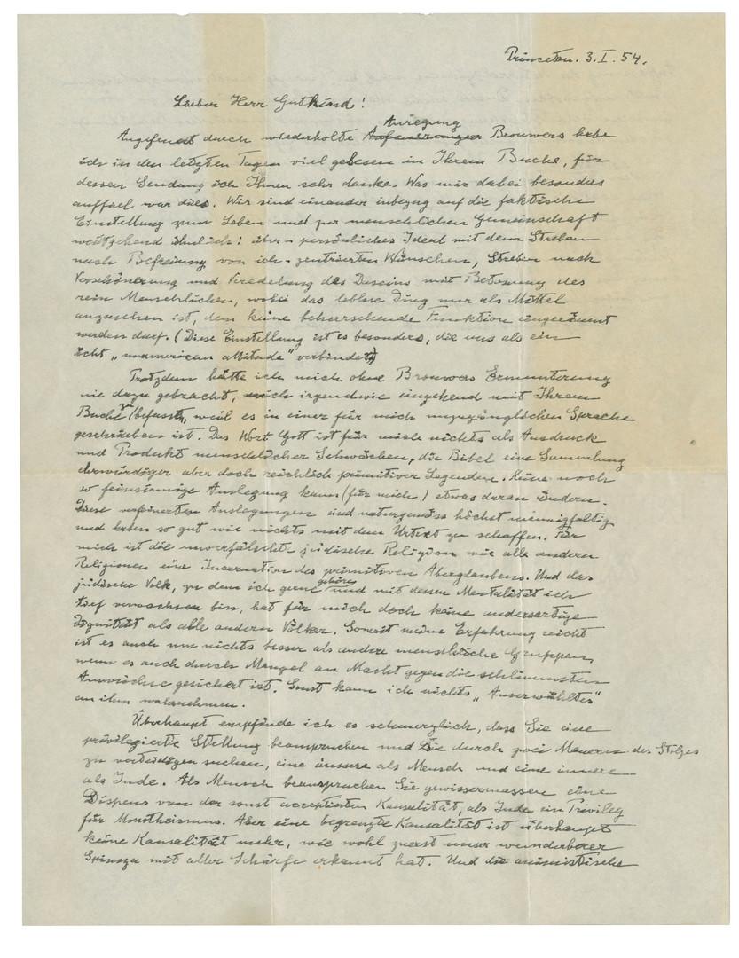 """Einsteins """"Gottes-Brief"""" bringt knapp 2,9 Millionen Dollar"""