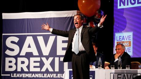Brexit-Befürworter Nigel Farage am 30.09.2018 auf einer Kundgebung zum Thema