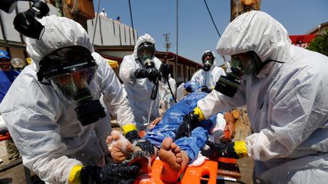 Übung: Syrisches Personal lernt im türkischen Gaziantap in einem von der Weltgesundheitsorganisation organisierten Training den Umgang mit Chemiewaffen-Opfern (20. Juli 2017)