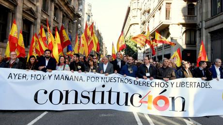 Straßenveranstaltung in Barcelona anlässlich der Feierlichkeiten zum 40. Jahrestag der Volksabstimmung am 6. Dezember 1978 über die spanische Verfassung der Nach-Franco-Zeit.