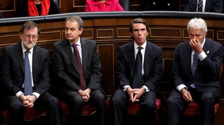 Ernste Gesichter – die ehemaligen Ministerpräsidenten Spaniens: Mariano Rajoy, José Luis Rodriguez Zapatero, José María Aznar und Felipe González (v.l.n.r.) während der Zeremonie im spanischen Parlament zum 40. Jahrestag der spanischen Verfassung.