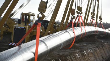 Die Nord Stream 2 Pipeline wird in Anklam in Mecklenburg-Vorpommern verlegt.