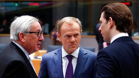 Jean-Claude Juncker, Donald Tusk und Sebastian Kurz während des Gipfels (v.l.n.r.)