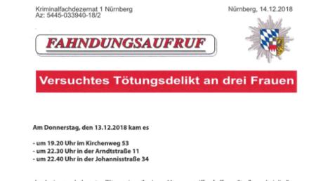 Flyer mit Fahndungsaufruf, den die Polizei derzeit in St. Johannis verteilt
