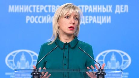 Die Sprecherin des russischen Außenministeriums, Maria Sacharowa, spricht während ihres wöchentlichen Briefings in Moskau, Russland.