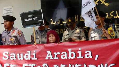 Proteste gegen Hinrichtungen in Saudi-Arabien vor der saudischen Botschaft in Jakarta, Indonesien, 20. März 2018.