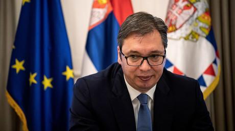 Der serbische Präsident Aleksandar Vučić bei einem Interview mit der Nachrichtenagentur AFP am 14. Mai 2018 in Belgrad