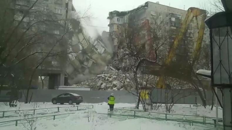 Nach tödlichem Teileinsturz von Wohnhaus in Magnitogorsk: Restlicher Gebäudeteil eingestürzt