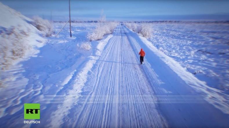 Alles für den guten Zweck: 50 Kilometer Lauf bei -60 Grad Kälte (Video)