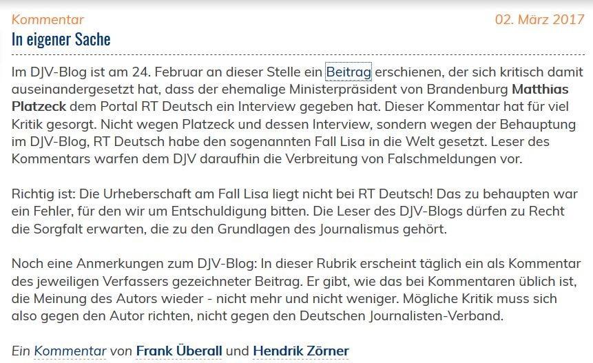 Chef des Deutschen Journalisten-Verbands blamiert sich beim Verbreiten von Fake News über RT Deutsch