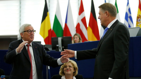 EU-Kommissionschef Juncker begrüßt Präsident Iohannis im EU-Parlament in Straßburg, Oktober 2018
