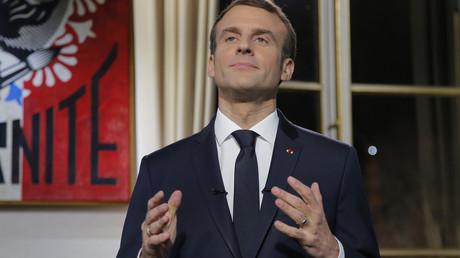Der französische Präsident Emmanuel Macron während der Neujahrsansprache an die Nation am 31. Dezember 2018.