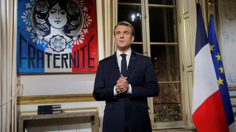 Emmanuel Macron während seiner Neujahrsansprache.
