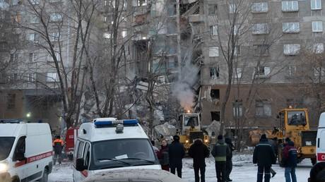 Karl-Marx-Straße 164 im russischen Magnitogorsk: Am Silvestermorgen stürzte das Wohnhaus in sich zusammen.
