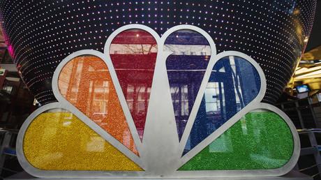Ein mit Süßigkeiten gefülltes NBC-Logo im Rockefeller Center in New York, 30. April 2013.