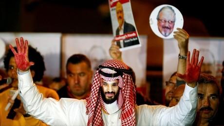 Proteste nach dem brutalen Mord am saudischen Journalisten Jamal Kashoggi im Jahr 2018 – in dem Saudi-Arabien aus Deutschland dennoch Kriegsgüter in höherem Wert als im Vorjahr erhielt.