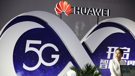 Stand von Huawei mit 5G-Technologie auf der internationalen Messe für Telekommunikation PT Expo 2018 in Peking, China.