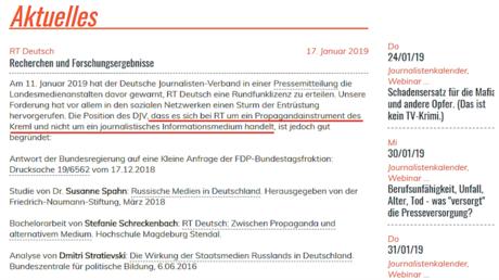Der Deutsche Journalisten-Verband befindet sich aktuell auf dem Feldzug gegen RT Deutsch.