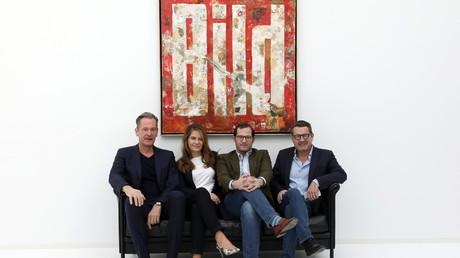 Den sinkenden Auflagen zum Trotz lächelnd: Springer-CEO Mathias Döpfner, Ex-Bild-Chefredakteurin Tanit Koch, Bild-Chef Julian Reichelt und Ex-Bild-Chefredakteur Kai Diekmann (v. l.)