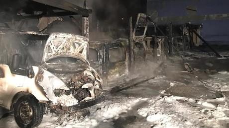 Die ausgebrannten Fahrzeuge des Ordnungsamtes