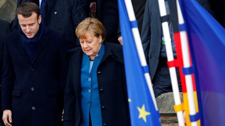 Emmanuel Macron und Angela Merkel in Aachen, Deutschland, 22. Januar 2019.