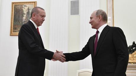 Der russische Präsident Wladimir Putin trifft am 23. Januar 2019 im Kreml mit seinem türkischen Amtskollegen Recep Tayyip Erdoğan zusammen.
