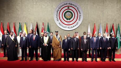 Arabische Führer posieren für die Kamera vor dem arabischen Wirtschaftsgipfel in Beirut, 20. Januar 2019.