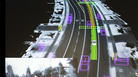 Das Dateifoto zeigt ein Video, das von einem selbstfahrenden Google-Auto aufgenommen wurde.