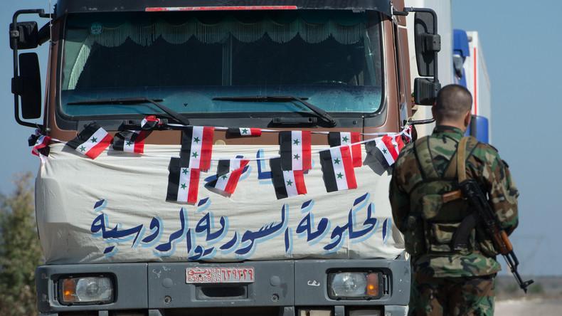1.080 Tonnen Hilfsgüter: Russlands Militärpolizei geleitet UN-Konvoi zum Lager Rukban in Syrien