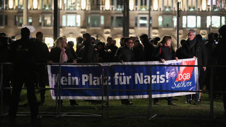 Protest gegen Neonazi-Aufmarsch in Dresden