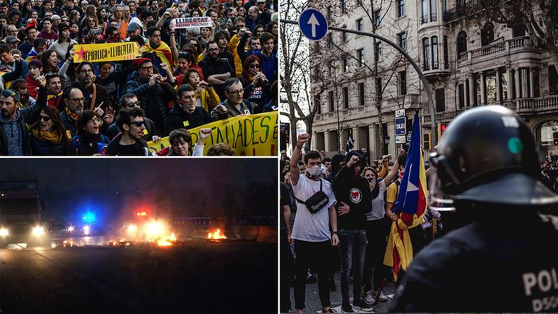 Proteste der Katalanen: Brennende Reifen und Zusammenstöße mit der Polizei