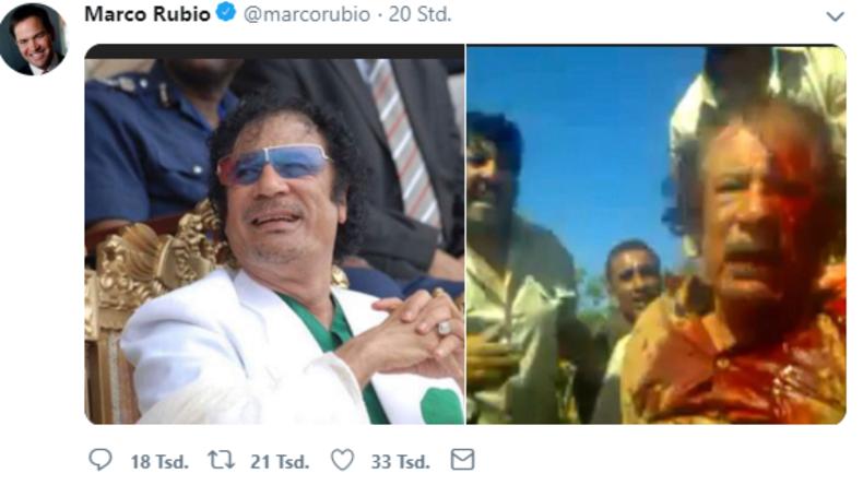 Ansage an Maduro: US-Senator Rubio twittert Bild von Gaddafis Ermordung