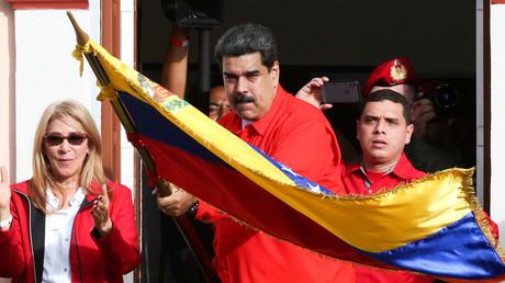 Venezuelas Präsident Nicolas Maduro nimmt am 23. Januar 2019 an einer Kundgebung zur Unterstützung seiner Regierung in Caracas teil.