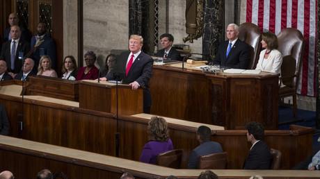Präsident Donald Trump hält am 5. Februar 2019 in Washington eine Rede in der Kammer des US-Repräsentantenhauses im Capitol.