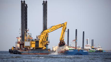 Der Bau schreitet voran: Baggerarbeiten bei Lubmin im Februar 2019.
