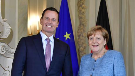 Botschafter Grenell während eines Empfangs bei Bundeskanzlerin Angela Merkel im Juli 2018