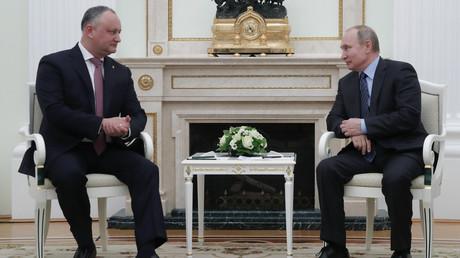 Der moldawische Präsident Igor Dodon zu Besuch beim seinem Amtskollegen Wladimir Putin in Moskau am 30. Januar 2019.
