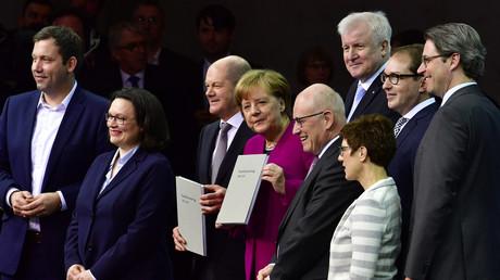 Da war die Stimmung noch besser: Die Spitzen von Union und SPD bei der Präsentation des Koalitionsvertrags, März 2018