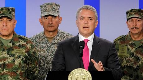 Der kolumbianische Präsident Iván Duque während einer Pressekonferenz in Bogotá, 4. Februar 2019