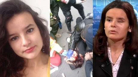 Bilder der Demonstrantin Fiorina Jacob Lignier, die nachdem sie von einer Tränengas-Granate der Polizei getroffen wurde ein Auge verlor