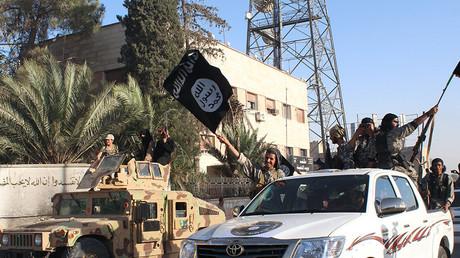 Ein Bild, das von der dschihadistischen Medienstelle Wilāyat Raqqah am 30. Juni 2014 veröffentlicht wurde, zeigt Mitglieder des IS.