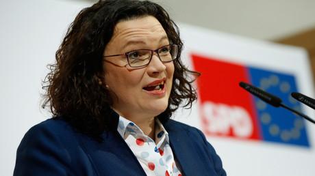 Grund zu guter Laune? SPD-Chefin Andrea Nahles am 11. Februar in Berlin.