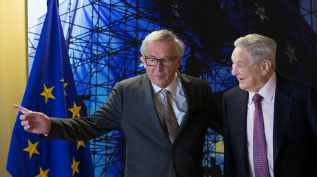 Jean-Claude Juncker und George Soros in Brüssel, Belgien, 27. April 2017.