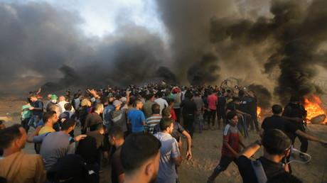 Zusammenstöße zwischen Palästinensern und israelischen Truppen im Al-Buraj-Flüchtlingscamp Gaza-Streifen.