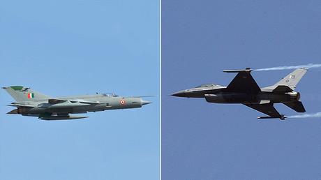 Links: eine MiG-21 der indischen Luftwaffe; rechts: eine F-16 der pakistanischen Streitkräfte.