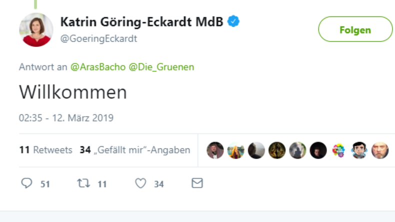 Auf Twitter: Katrin Göring-Eckhardt heißt verurteilten Grapscher bei Grünen willkommen