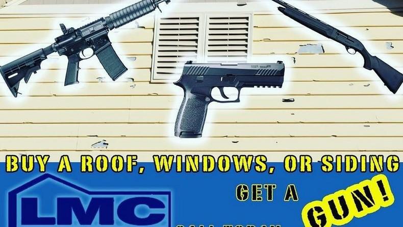 Only in America: Sturmgewehr als Werbezugabe einer Dachdeckerfirma