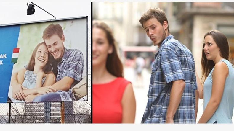 Paar aus Abgelenkter-Freund-Meme auf ungarischen Billboards für Familienunterstützung